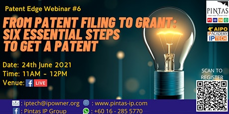 From Patent Filing to Grant: Six Essential Steps To Get A Patent! tickets
