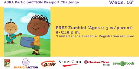 ABRA ParticipACTION Passport Challenge FREE Zumbini (Ages 0-3 w/parent) tickets