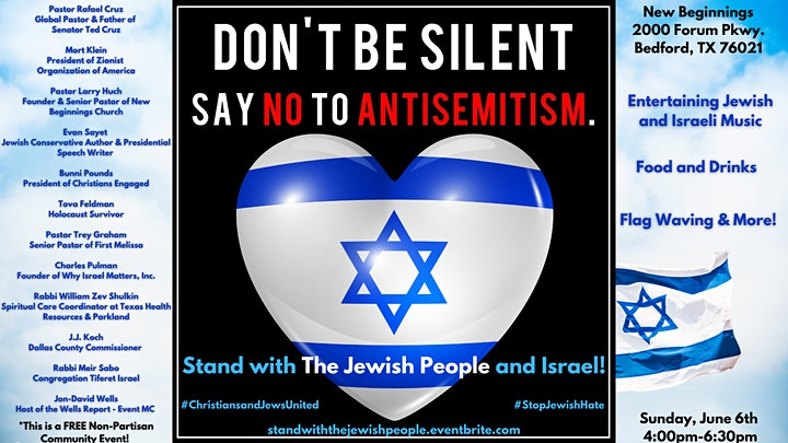 Stand with the Jewish People - Say NO to Anti-Semitism Event! #StopJewHate image
