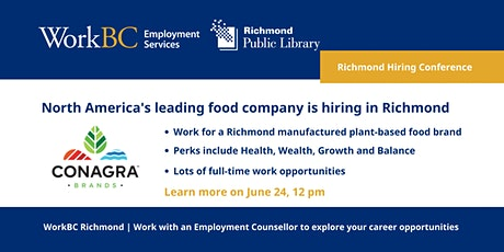 North America's leading food company is hiring in Richmond tickets