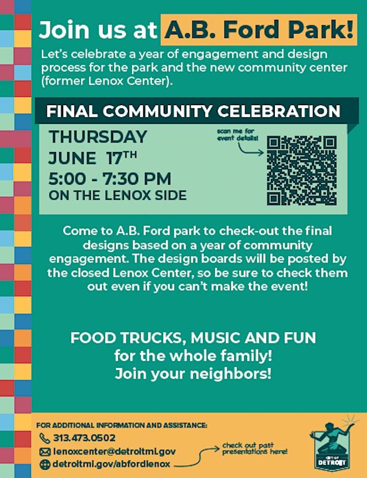 Final Community Celebration of  A.B. Ford Park & New Community Center image