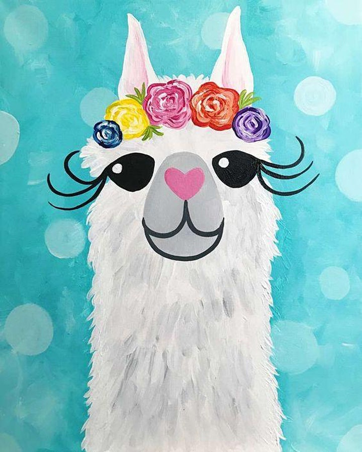 """Paint and Sip Workshop - Saturday (""""Llama"""" Alcohol Free Session) image"""