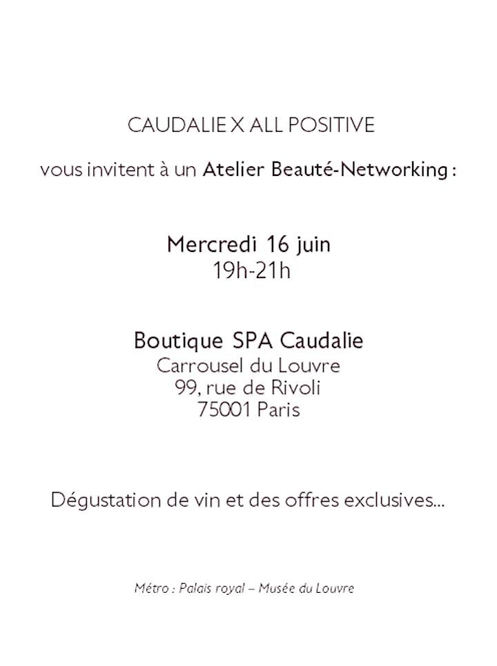 Image pour Invitation ALL POSITIVE Networking-Beauté à la Boutique Spa Caudalie Louvre