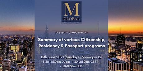 SUMMARY OF VARIOUS CITIZENSHIP, RESIDENCY & SECOND PASSPORT PROGRAMS tickets
