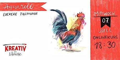 Aquarellkurs lockere Tiermotive - Onlinekurs - Kreativ zu Hause Tickets