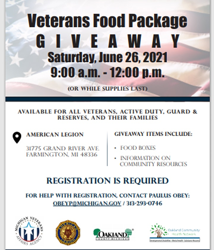 VETERANS FOOD PACKAGE  G I V E A W A Y image