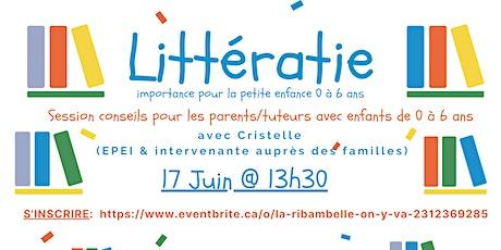 Littératie importance pour les parents/tuteurs avec enfants de 0 à 6 ans billets