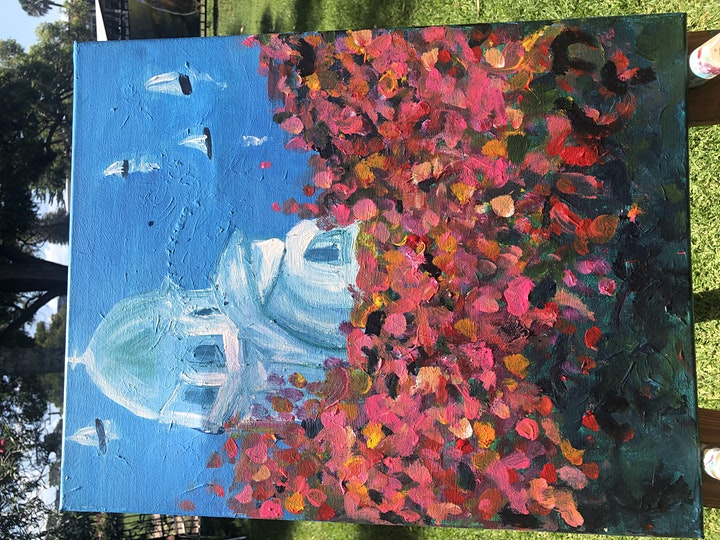Rose & Renoir   - We paint Santorini-  2 adults for the price of 1-SPECIAL image