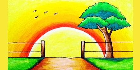 60min Learn to Paint a Scenery: Summer Sunrise @1PM  (Ages 6+) tickets