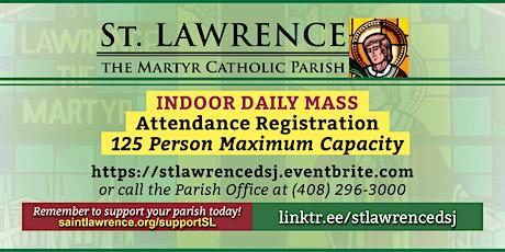 THURSDAY, June 17, 2021 @ 8:30 AM DAILY Mass Registration tickets