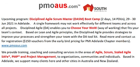 Disciplined Agile Scrum Master(DASM)-Boot Camp-Adelaide:29-30 June 2021 tickets