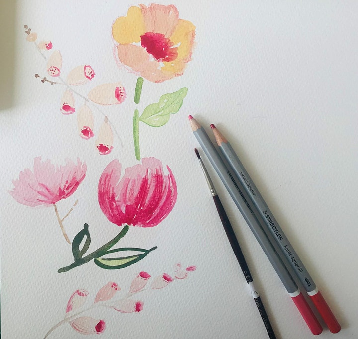 Paint a border of Summer Flowers for Beginners image