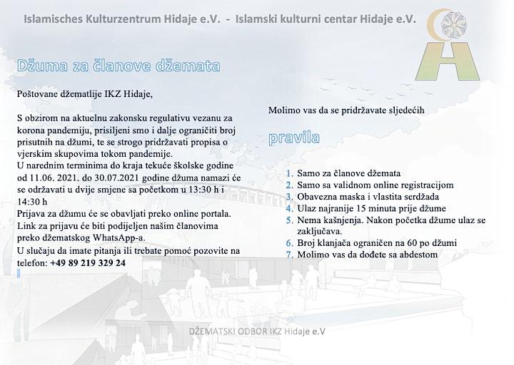 Džuma za članove u IKZ Hidaje 11.06 - 30.07.2021: Bild