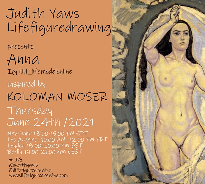 Life Figure Drawing Session via Zoom insp by Koloman Moser-with Anna Kogen image