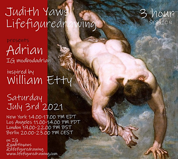Life Figure Drawing via Zoom - with Adrian inspired by William Etty image