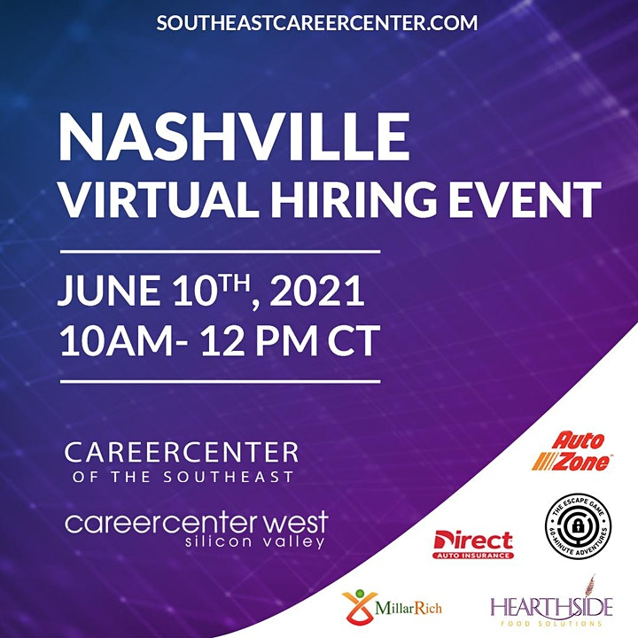 Free Virtual Career Fair. Nashville, TN image