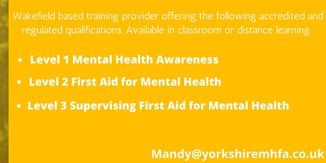 Level 3 Supervising First Aid for Mental Health tickets
