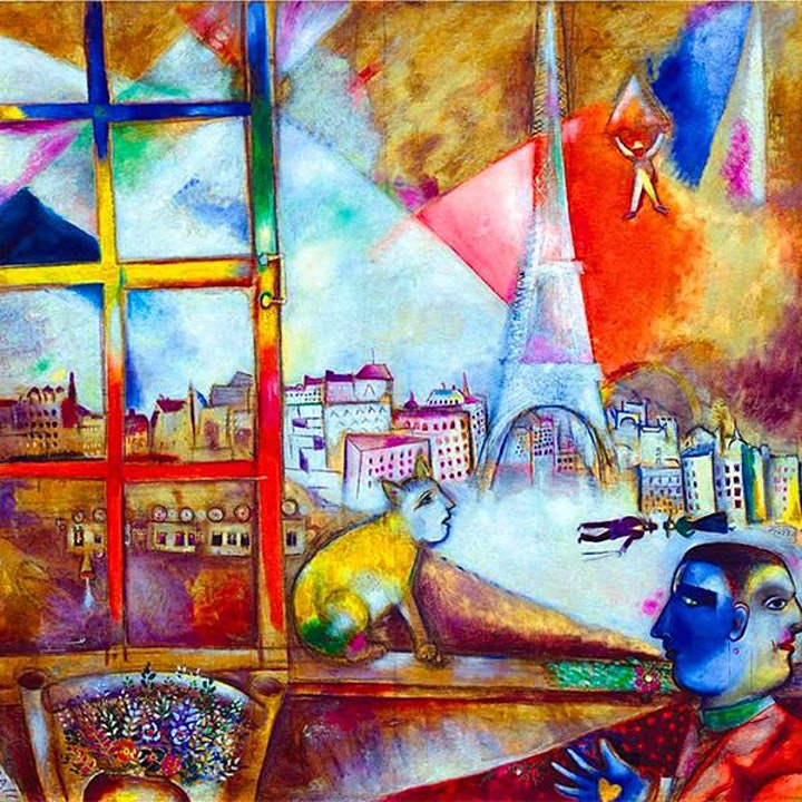 Paint CHAGALL  - 'Paris Through The Window'  - ZOOM Class image