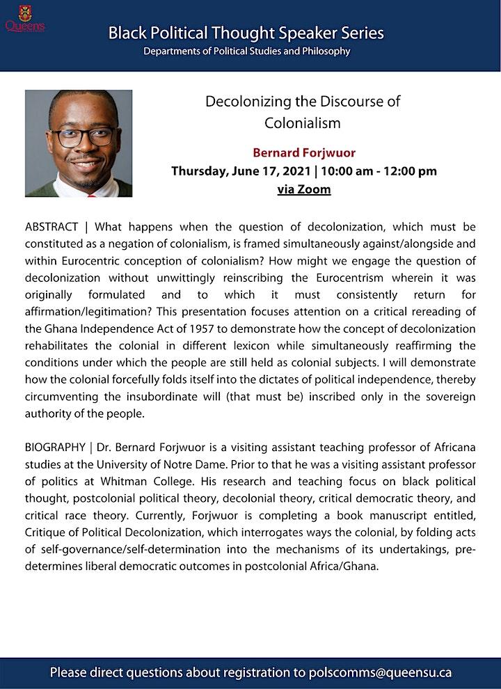 Bernard Forjwuor - Black Political Thought Speaker Series image