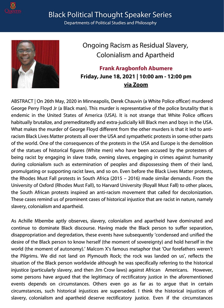 Frank Aragbonfoh Abumere - Black Political Thought Speaker Series image