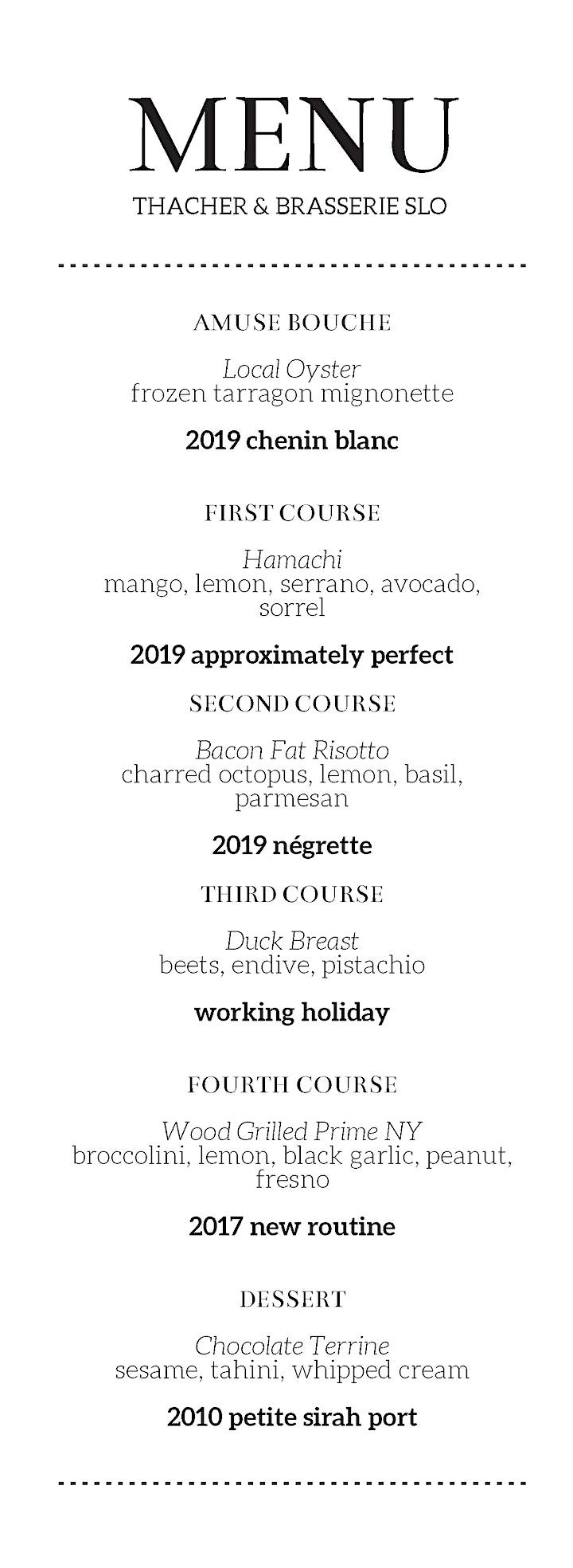 Brasserie SLO x Thacher Wine Dinner image