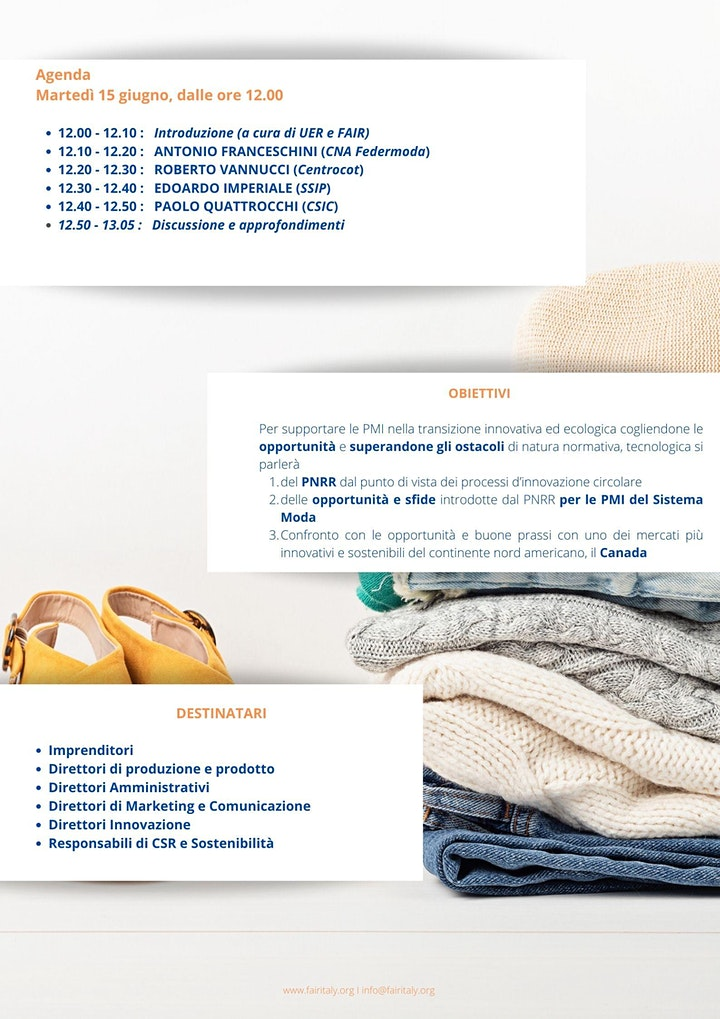Immagine FASHION WEBINAR : IL PNRR E LE OPPORTUNITA' PER LE PMI