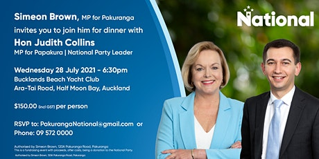 Dinner with Judith Collins, Leader of the National Party, and Simeon Brown. tickets