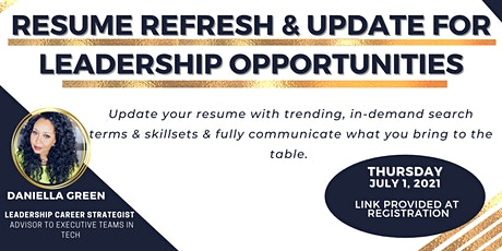 Resume Refresh & Update For Leadership Opportunities tickets