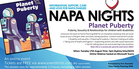 NAPA Nights: Puberty, Sexuality & Relationships tickets