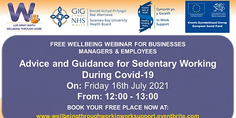 Advice and Guidance for Sedentary Working During Covid-19 tickets