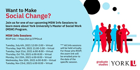 York University Master of Social Work Information Sessions tickets