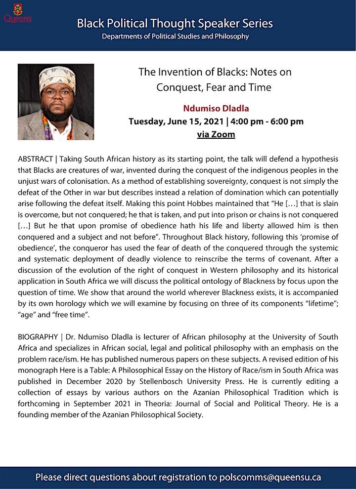 Ndumiso Dladla - Black Political Thought Speaker Series image