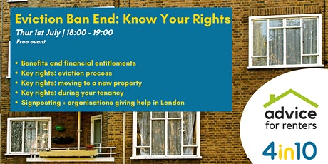 Eviction Ban End: Know Your Rights! tickets