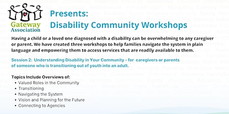 Session 2:  Understanding Disability in your Community tickets