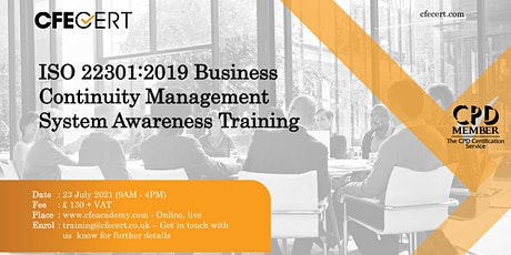ISO 22301:2019 BCMS Awareness Training tickets