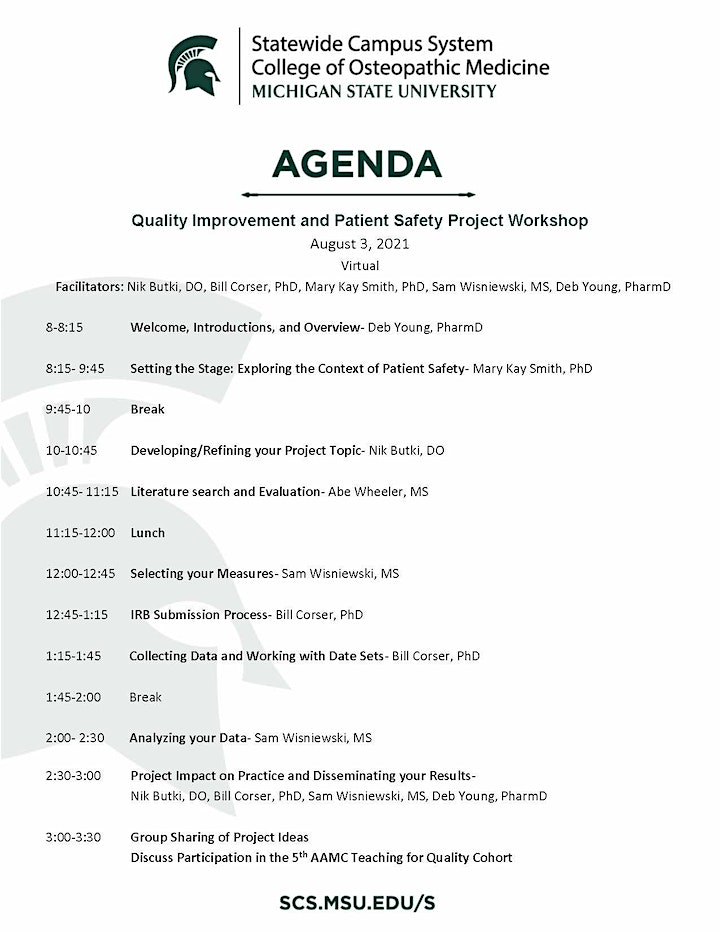 Quality Improvement and Patient Safety Project Workshop (TE4Q) image