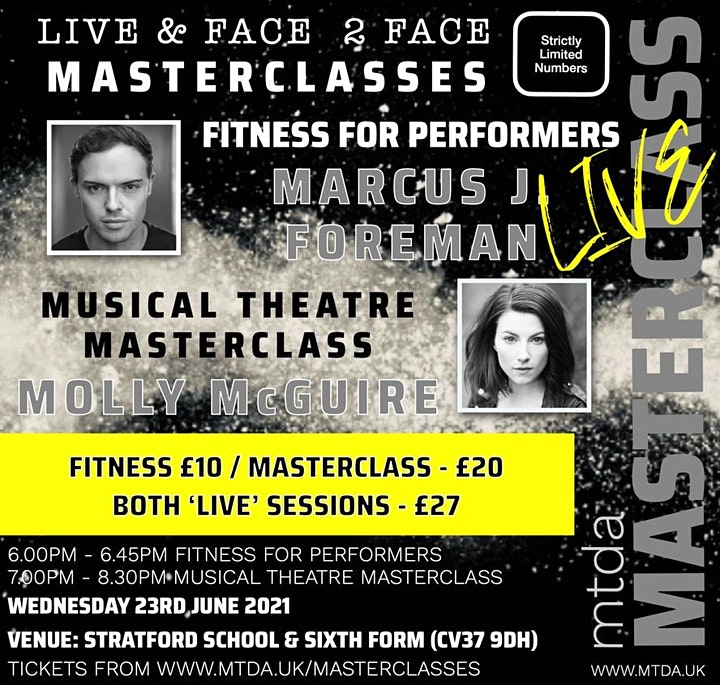 mtda Performers Fitness & Musical Theatre Masterclass DOUBLE BILL! image
