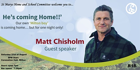 """'He's Coming Home!"""" - Matt Chisholm in Milton... One night only! tickets"""