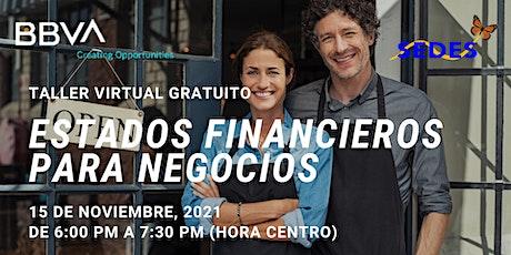 Estados Financieros De Negocios  - Taller Virtual GRATIS tickets