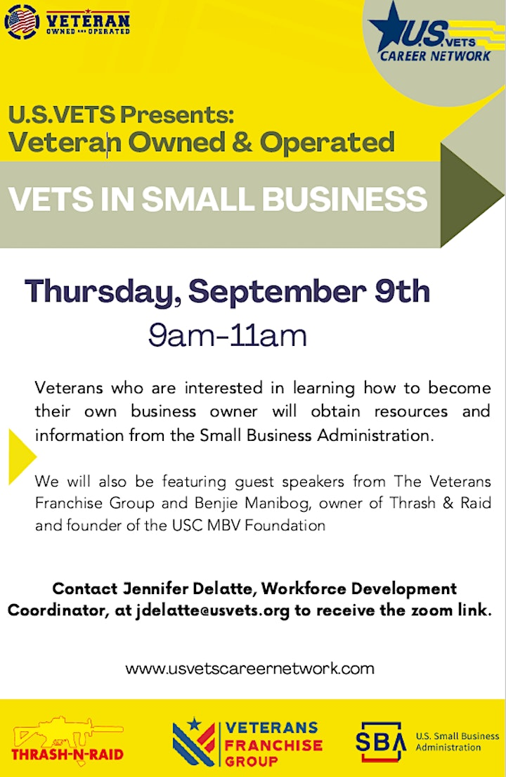 U.S.VETS Presents: Veteran Owned & Operated; Vets in Small Business image
