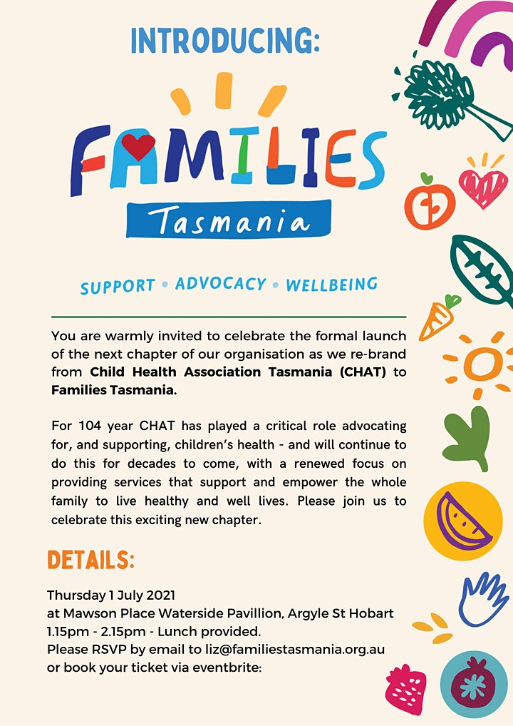 Launch of Families Tasmania (formerly Child Health Association Tasmania) image