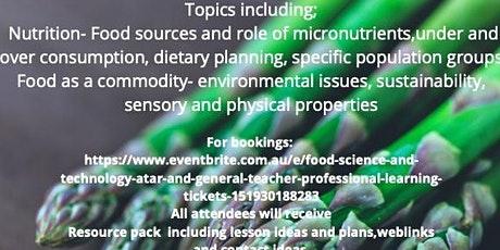 NEW DATE 20 NOV 2021 Food  Science and Technology ATAR and General Teac tickets