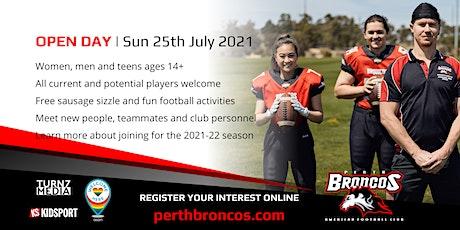 OPEN DAY | Perth Broncos American Football Club tickets