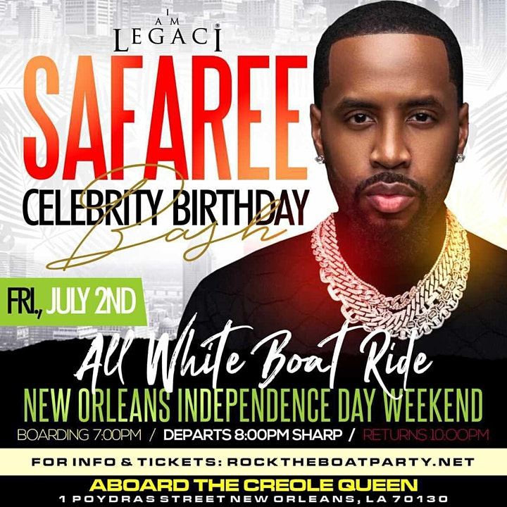 SAFAREE CELEBRITY BIRTHDAY ALL WHITE BOAT RIDE INDEPENDENCE DAY WEEKEND image