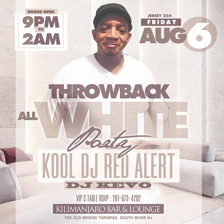 ALL WHITE THROWBACK PARTY WITH KOOL DJ RED ALERT IN JERSEY image