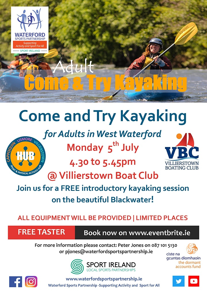 Come & Try Kayaking for Adults in West Waterford (early session) image