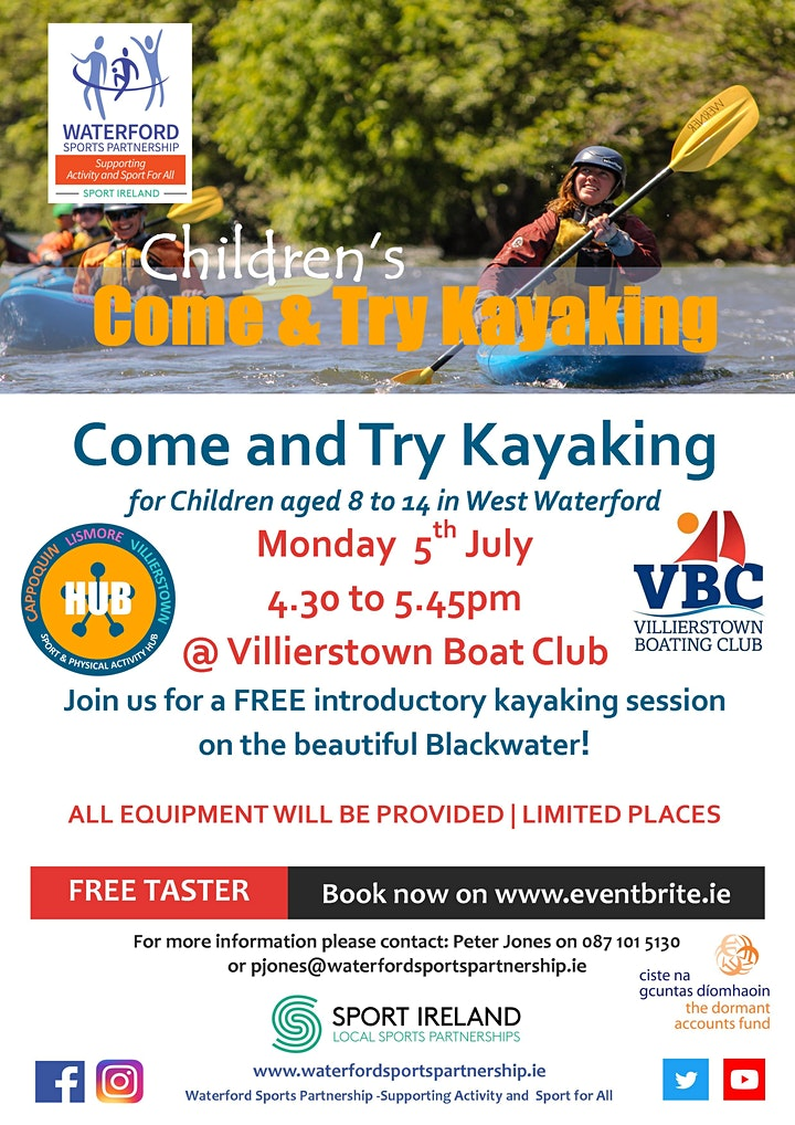 Come & Try Kayaking for Children (age 8-14)  West Waterford (early session) image