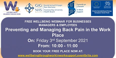 Preventing and Managing Back Pain in the Work Place tickets