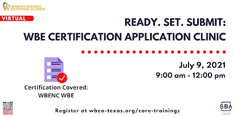 Ready. Set. Submit: WBE Certification Application Clinic Part 1 tickets