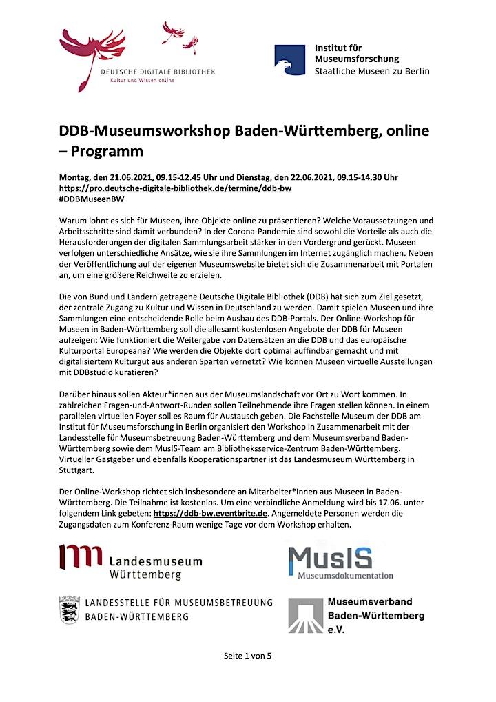 DDB-Museumsworkshop Baden-Württemberg, online: Bild